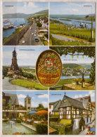 Rüdesheim Am Rhein , Mehrbildkarte , Panorama - Sesselbahn - Niederwalddenkmal - Blick Auf Bingen - Lindenwirt - - Ruedesheim A. Rh.