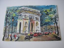 75 - PARIS  * L'ARC DE TRIOMPHE ANIME VOITURES *  AQUARELLE  DESSIN  ILLUSTRATION PAR GAN - Triumphbogen