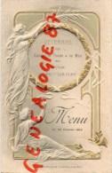 27 - PACY SUR EURE - MAGNIFIQUE ET RARE MENU GAUFRE VETERANS DES ARMEES DE TERRE MER - 23 FEVRIER 1913- HOTEL DE PARIS - Menus