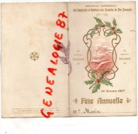 75011 -75 - PARIS - RARE MENU -SNCF-CHEMINS  FER- LECOMTE-DUQUENOY- REPUBLIQUE -1907-31E REGIMENT INFANTERIE CHOMEL - Menus