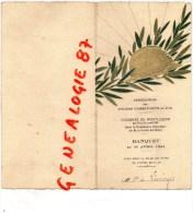 03 - MONTLUCON - RARE MENU ASSOCIATION ANCIENS COMBATTANTS DU P.O.- GUERRE 1914-1918- CONGRES 1931- SECTION LIMOGES - Menus