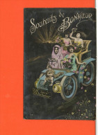 Automobile -  Fantaisie - Souhaits De Bonheur - Cartes Postales