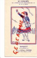 87 - LIMOGES - RARE MENU XIE CONGRES 12E REGION MILITAIRE- GENERAL DOSSE -TRAITEUR BALANDIER HOTEL JEANNE D' ARC- LEGROS - Menus