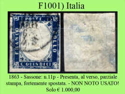 Italia-F01001 - 1863 - Sassone: N.11p - NON NOTO USATO!!! - Usati