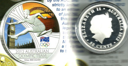 AUSTRALIA 50 CENTS LONDON OLYMPIC COLOUR FRONT QEII HEADBACK 2012 1/2 Oz .999AG UNC SILVER READ DESCRIPTION CAREFULLY!!! - Australia