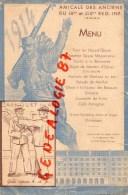 75 - PARIS - RARE MENU AMICALE DES ANCIENS DU 18 E ET 218 E REGIMENT INFANTERIE- RESTAURANT PALAIS D' HIVER-1938-PUCHEU - Menus