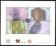 Health - Germany 2001 - Souvenir Sheet Mi. Bl. 54 -  First Day Issue Cancellation Berlin - Heart, Circulatory System, … - Blocks & Kleinbögen