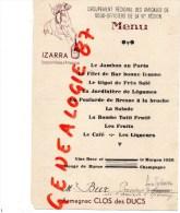 51 - EPERNAY - RARE MENU GROUPEMENT AMICALES SOUS OFFICIERS VIE REGION- M. BUR 1926-IZARRA - Menus