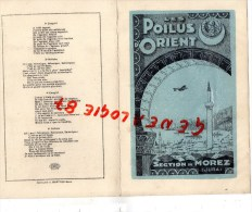 39 - MOREZ JURA - RARE MENU LES POILUS D' ORIENT-BANQUET 1934- CENTRAL MODERN HOTEL- SALONIQUE -GUERRE 1914-1918 - Menus