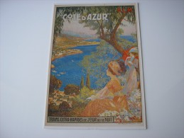 * COTE D'AZUR *  REPRODUCTION D'AFFICHE - ILLUSTRATION DESSIN DE DELLEPIANE - Provence-Alpes-Côte D'Azur