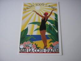 * LE SOLEIL TOUTE L'ANNEE SUR LA COTE D'AZUR *  REPRODUCTION D'AFFICHE ANCIENNE - ILLUSTRATION DESSIN DE BRODERS - Provence-Alpes-Côte D'Azur