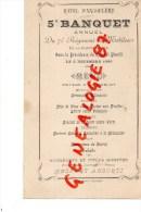 87 - LIMOGES - RARE MENU 5E BANQUET ANNUEL DU 71E REGIMENT DE MOBILES HAUTE VIENNE-HOTEL ANGOULEME- COLONEL PINELLI-1886 - Menus
