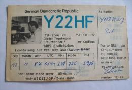 QSL,RADIO AMATEUR-GERMANY DEMOCRATIC REPUBLIC-DIETER TRAUTMANN - Radio Amateur