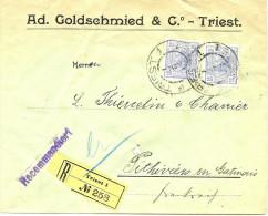 LBL26F - EMPIRE AUTRICHIEN  LETTRE COMMERCIALE RECOMMANDEE TRIESTE / PITHIVIERS ???/1907 - Brieven En Documenten