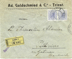LBL26F - EMPIRE AUTRICHIEN  LETTRE COMMERCIALE  RECOMMANDEE TRIESTE / PITHIVIERS SEPTEMBRE 1907 - Covers & Documents