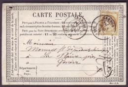 ISERE - CP - Tàd T18 GRENOBLE (5-7-1876) Sur N°55 (15c) Pour La Plaine (SUISSE) - Postmark Collection (Covers)