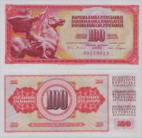 YUGOSLAVIA  100  DINARA 1965  UNC , P-80   Serial Number With Six Largel Numerals - Yougoslavie