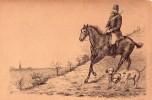 A Identifier-dessin Chasseur Sur Cheval Et Ses Chiens (chasse A Courre?) - Zu Identifizieren