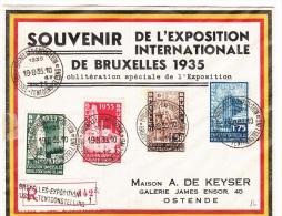 BELGIUM REGISTERED COVER 19/08/1935 COB 386/389 BRUXELLES -EXPOSITION VERS OSTENDE - Belgique