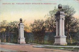 Maine Portland Portland Street Entrance To Deerings Oaks 1908