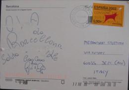 ESPANA SPAIN Isolated Single 2002 Union Europea Europe Usado Used On Cover Complete Letter To Italy - 1931-Oggi: 2. Rep. - ... Juan Carlos I