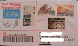ESPANA SPAIN 2003 Unused New Ungummed Registered Certificado Usado Used On Cover Complete Letter To Italy Postal History - 1931-Oggi: 2. Rep. - ... Juan Carlos I
