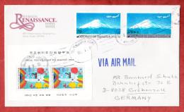 Luftpost, MiF Block Woche Philatelie + Flugpostmarken, Seoul Nach Groebenzell 1991 (58342) - Korea, South