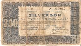 BILLETE DE HOLANDA DE 2,50 GULDEN DEL AÑO 1938 SERIE X  (BANKNOTE) - [2] 1815-… : Reino De Países Bajos