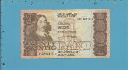 South Africa - 20 RAND - ( 1990 - 93 ) - Pick 121.e - Sign. 7 - Watermark: J. Van Riebeek - 2 Scans - Afrique Du Sud