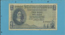 South Africa - 2 RAND - ( 1962 - 65 ) - Pick 105.b - Sign. 4 - Watermark: J. Van Riebeek - 2 Scans - Afrique Du Sud