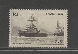 FRANCE 1946 Mint Hinged Stamp(s) Cruiser Emile Bertin 2+3 Franc Black Nr. 740 - France