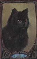 Belle CPA  Illustrée Décor  ART NOUVEAU  Joli CHAT NOIR - Cats