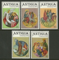 """Antigua     """"Christmas 1976""""     Set    SC# 448-52   MNH** - Christmas"""