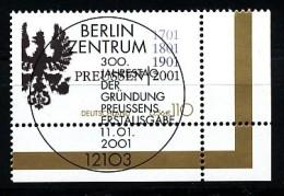 BRD  Mi.Nr. 2162  300. Jahrestag Der Gründung Des Königreichs Preußen  - ESSt Berlin -Eckrand Unten Rechts - Used - BRD