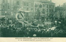 CHALON SUR SAONE - Fêtes Du Carnaval En 1927 Sa Majesté Carnaval XIV Terrassant La Vie Chère Très Animé - Chalon Sur Saone