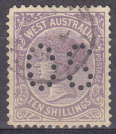 Western Australia - 1901/1912 Queen Victoria 10s - Official Perfin - Used - Gebraucht