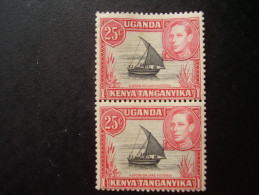 KUT  1938-1954 Definitive 25 Cents Black & Carmine-red  VERTICAL PAIR  MNH. - Kenya, Uganda & Tanganyika