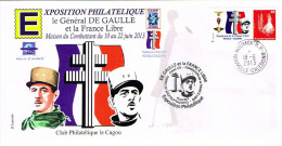 Nouvelle Caledonie Enveloppe Commemorative Premier Jour Timbre Personnalise A Moi General De Gaulle France Libre 2013 - Nouvelle-Calédonie