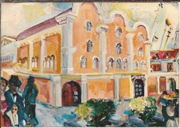 Curaçao.  Oldest Synagogua Of The Americas. Painting By Suzanne Perlman. Entrance Inscription Mikwe Israël-Immanuel. - Postkaarten