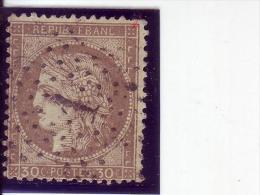 CERES-30 C-ERROR-TYPE B-NO DOT IN CROSS-POSTMARK-ETOILE-1872-FRANCE - 1871-1875 Cérès