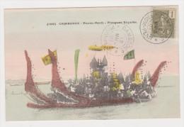 CAMBODIA  CAMBODGE   CP  Pirogues Royales 10/03/1907 - Cambodia