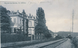 607/22 - Carte-Vue MARCHE Les DAMES - Chateau Et Ligne Chemin De Fer - TP Armoiries LIEGE-ERQUELINNES 2 En 1906 - België