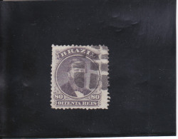 PEDRO II  80 R VIOLET-NOIR OBLITéRé N°26 A YVERT ET TELLIER 1866 - Oblitérés