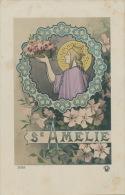 FEMMES - FRAU - LADY - Jolie Carte Fantaisie Portrait Femme Et Fleurs SAINTE AMELIE - Prénoms