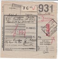 BELGIUM COLIS DU SOLDAT 11/09/1939 COB TR 204 COUPE EN DEUX ZARRENT - Spoorwegen