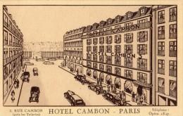 PARIS 3 RUE CAMBON HOTEL CAMBON (CARTE PUBLICITAIRE DESCRIPTIF + PLAN) - Arrondissement: 01