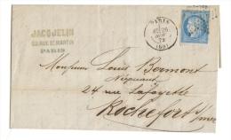 Lettre Jacquelin Confiserie Chocolatier Paris Oblitérée Convoyeur Paris à La Rochelle - Collections
