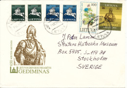 Lithuania Cover Sent To Sweden Vilnius 1991 ?? MAP On One Of The Stamps - Litauen