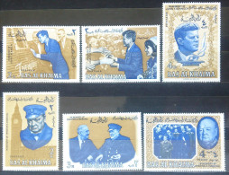 05 Ras Al-Khaima Yv. 9-11 In Memory Of J. Kennedy & Yv. 13-14 In Memory Of W. S. Churchill - Roosvelt - MNH - Ra's Al-Chaima