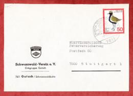 Brief, Vordruckumschlag Wappen, EF Goldregenpfeifer, SoSt Gutach Schwarzwald, Nach Stuttgart 1976 (58450) - Storia Postale